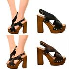 Damen Sandalen Holz Effekt Echtleder Plateausandalen Pumps Wedge Clogs 44452