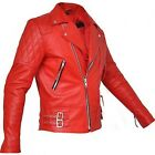 Soft Lambskin Red Brando Classic Motorcycle biker Real Leather Jacket Cafe Racer