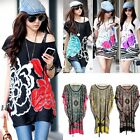 Women Girl Casual Summer Bohemian Casual Dresses Ice Silk Tops Shirt S0BZ
