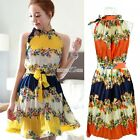 Hot Womens Folded Printing Bohemia Retro Chiffon Dress With Belt 2 Colors S0BZ