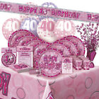 ALTER 40/40TH GEBURTSTAG ROSA GLANZ PARTY REIHE Ballon/Dekoration/Banner/