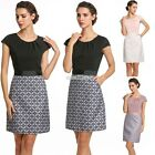Mode Femmes O-cou Cap Sleeve Patchwork Robe carrière Party Slim Robe S0BZ