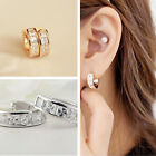 White Gold Plated Huggie Small Half Band Cz/Diamante/Crystal Hoop Earrings