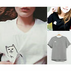 Women T Shirt Summer T-shirt Print Middle Finger Pocket Cat O-neck Short Sleeve