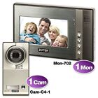 "Wired 7"" LCD Color Video Door Phone Silver Camera Home Entry System 1-3 Families"