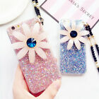 Bling Love Heart Sparkle Flower Case with Pearl Lanyard Neck Strap for iPhone