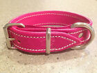 32mm Pink Pure Leather Dog Collar with Soft Pink Sheepskin Padded Lining