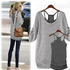 Fashion Women's Long Sleeve Shirt Casual Blouse Loose Cotton Tops Lady T Shirt