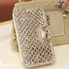 Bling Diamond Rhinestone Bow Wallet Leather Stand Case Cover For HTC Phones