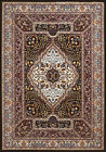 Blue Leaves Medallion Curves Traditional-European Area Rug Bordered 1900-01164