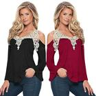 Women Long Sleeve Off Shoulder Lace T-shirt Floral Casual Party Blouse Tops