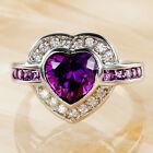 Heart Cut Amethyst & White Topaz Gemstone Silver Jewelry Ring Size O Q S T1/2