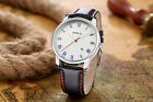 New Fashion Men's Date Stainless Steel Leather Sport Analog Quartz Wrist Watches