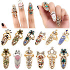 Women Fashion Bowknot Nail Ring Charm Crown Flower Crystal Finger Nail Rings image