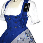 DIRNDL German Oktoberfest Dress 3pc LONG BLUE Bavarian Trachten Garden Sun Party