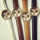 Women's Watch Leather Band Stainless Steel Analog Quartz Wrist Watch Cat Pattern