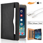 Luxury Shockproof Leather Smart Cover Folio Case For iPad &2M 3M Lightning Cable