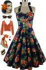 50s Style Eleanor Paige PINUP Navy Blue PINEAPPLE HIBISCUS Print HALTER SunDress