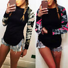 Women's Long Sleeve Camouflage T-shirt Sweatshirt Hoodies Pullover Jumper Top