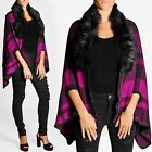 WOMENS LADIES KNIT PINK CHECK FUR COLLAR CAPE BLANKET SHAWL WRAPOVER COAT THROW