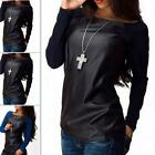 Sexy Womens Leather Long Sleeve Sweatshirt T-Shirts Casual Loose Blouses Tops