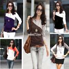 Womens Sexy Splicing Batwing Long Sleeve Casual Blouse Cotton T-Shirt Tops S0BZ