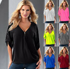 Women's Lady Summer Work Office Party Chiffon T-shirt Shirt Blouse Tops Clothes