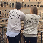 New THE KING OR HIS QUEEN Print Couples Sweatshirts Long Sleeve Hoodies Jumper