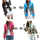 Women's Winter Duck Down Floral Long Sleeve Zipper Slim Collar Jacket Plus Size