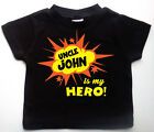 My UNCLE is my Hero! Personalised Baby t-shirt. Custom printed cotton tee