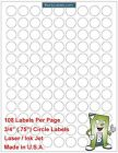 "108 Per Page Circle Labels .75"" 3/4"" Round Circular Laser / Ink Jet Event Labels"