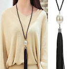 Women's Fashion Black Leather Tassel Red Pearl Beads Pendant Necklace Jewelry