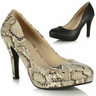 Ladies Womens Low Platform Stiletto Heel Round Toe Court Dolly Shoes Pumps