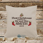 Christmas Cushion Cover Single COVER ONLY Personalised Mr & Mrs Plus Surname