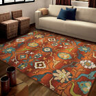 Red Vines Curls Circles Rings Contemporary Area Rug Floral 2826