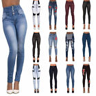 Womens Ladies High Waisted Blue Skinny Fit Jeans Stretch Denim Jegging Size 6-16