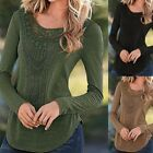 New Women's Ladies Loose Long Sleeve Lace Tops T-shirts Crochet Blouse Shirt Tee
