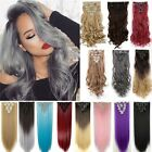 US Stock Long Real as remy human Hair Extensions Full Head Clip in Hairpiece Q72