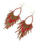 New Womens Bohemia Handmade mini Beads Tassel Hang Charm Earrings 6 colors