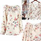 Fashion Women Ladies Chiffon T Shirt Floral Print Long Sleeve Blouse Casual Top
