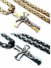 Stainless Steel Silver Gold Black Jesus Cross Flat Byzantine Chain Necklace T1