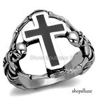 MEN'S CELTIC CROSS SKELETON SKULLS SILVER STAINLESS STEEL FASHION RING SIZE 8-13