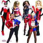 WOMENS HARLEY QUINN LADIES ADULT HALLOWEEN FANCY DRESS COSTUME ARKHAM GOTHAM