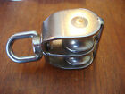 """SUNCOR Stainless Swivel Pulley Double eye BLOCK 3/8"""" rope New 1"""" sheave NEW"""