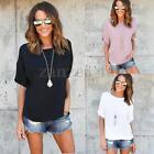 Zanzea Women Summer Loose Short Sleeve Plus Casual Solid T Shirt Tee Blouse Tops