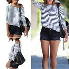 Fashion Striped Womens Loose Pullover T Shirt Long Sleeve Tops Shirt Blouse Top