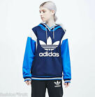 ADIDAS Originals Women Archive Hoodie Blue Logo Hooded Sweatshirt S M UK 10 12