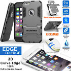 Full Cover Tempered Glass Screen Protector+Premium Kickstand Hard Case iPhone 6+