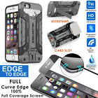 Black Full Covered Bubble-Free Clear Glass Screen iPhone 6+Slim Wallet Back Case