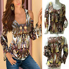 Sexy Womens Off Shoulder Long Sleeve Casual Tops Shirt Loose Floral Print Blouse